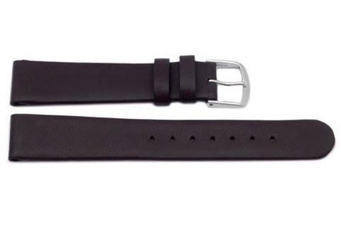 Genuine Smooth Flat Leather Dark Brown Watch Band