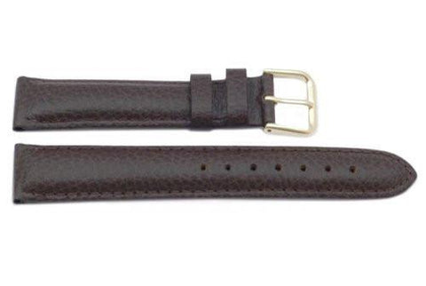 Genuine Textured Leather Dark Brown Long Watch Strap