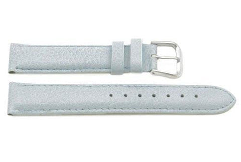 Genuine Textured Leather Light Blue Stitched Watch Strap
