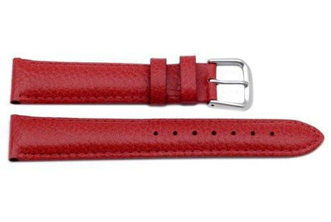 Genuine Textured Leather Red Padded Watch Strap