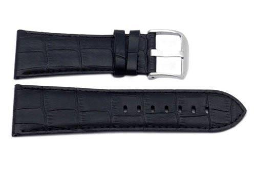 Genuine Square Crocodile Textured Leather Black Watch Strap