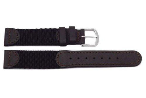 Genuine Leather and Nylon Swiss Army Style Brown Watch Strap