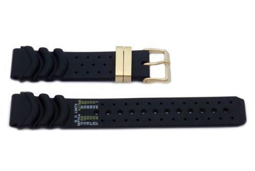 Genuine Rubber Black 20mm Watch Band by Citizen
