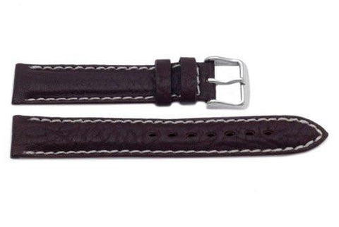 Genuine Textured Leather Dark Brown With White Stitching Watch Band