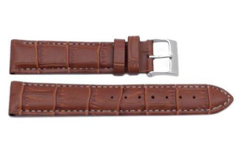 Genuine Square Crocodile Textured Leather Honey Brown Watch Strap