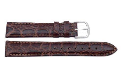 Genuine Leather Round Crocodile Grain Brown Watch Strap