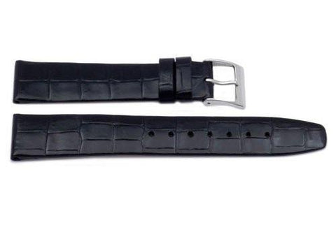 Genuine Square Crocodile Grain Leather Black Watch Band