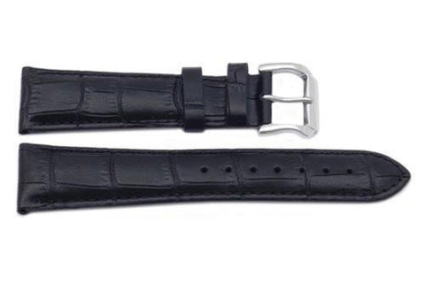 Genuine Square Crocodile Textured Leather Black Watch Band