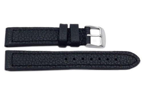 Genuine Textured Leather Heavy Padding Black Long Watch Band