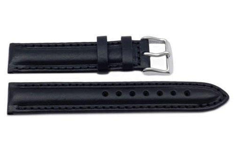 Genuine Oil Tanned Leather Black Watch Band