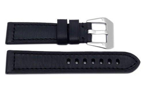 Genuine Heavy Padded Textured Black Leather Panerai Watch Strap