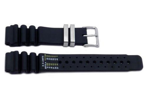 Genuine Rubber Black 20mm Watch Band