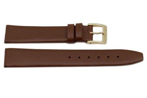 Genuine Smooth Leather Flat Light Brown Watch Band
