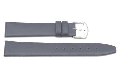 Genuine Smooth Leather Flat Gray Watch Strap