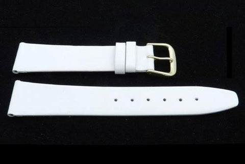 Genuine Smooth Leather Flat White Watch Strap