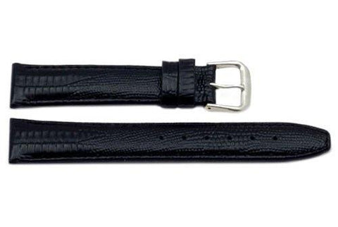 Genuine Leather Lizard Grain Black Watch Strap