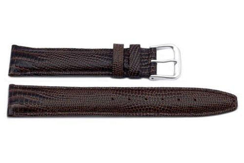 Genuine Leather Lizard Grain Brown Watch Strap