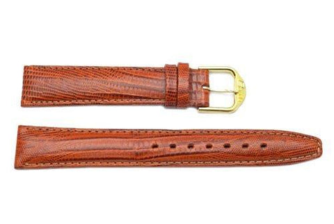 Genuine Leather Lizard Grain Brown Watch Band
