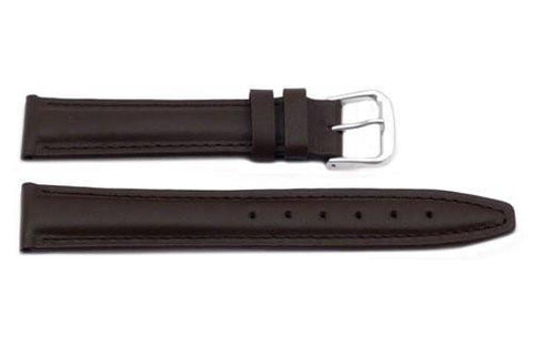 Genuine Leather Smooth Brown Watch Band