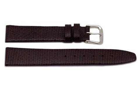 Genuine Leather Lizard Grain Dark Brown Watch Strap