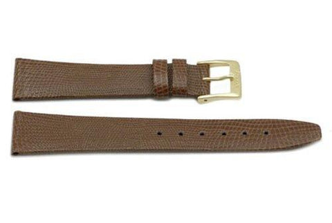 Genuine Leather Lizard Grain Light Brown Watch Band