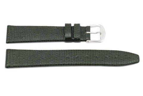 Genuine Leather Lizard Grain Dark Gray Watch Strap