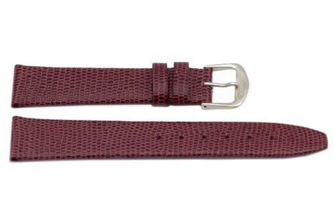 Genuine Leather Lizard Grain Burgundy Watch Band