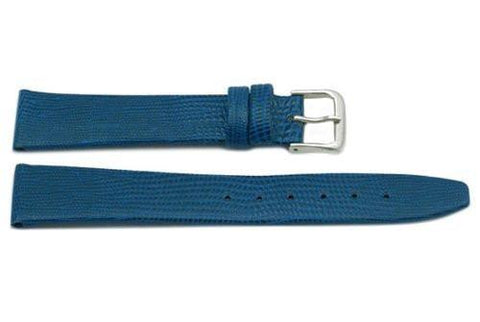 Genuine Leather Lizard Grain Light Blue Watch Strap