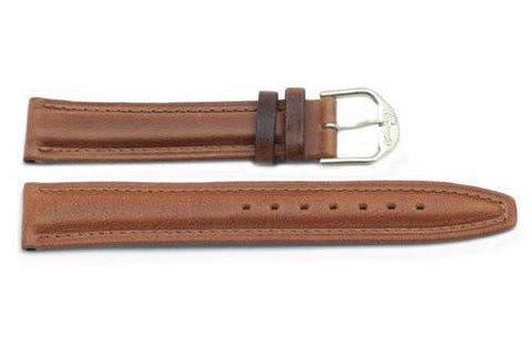 Genuine Smooth Padded Leather Light Brown Watch Strap