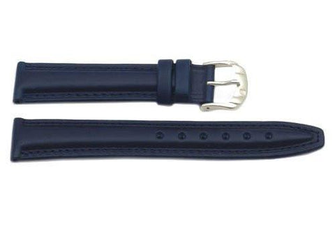 Genuine Smooth Padded Leather Dark Blue Watch Band