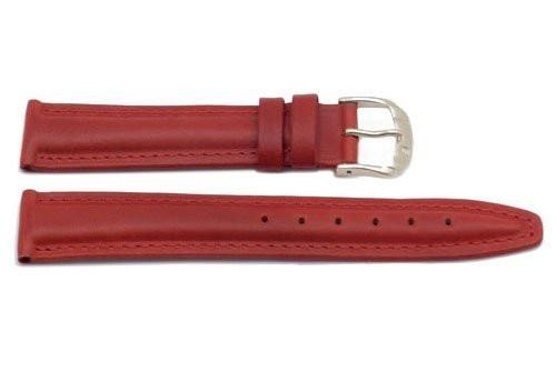 Genuine Padded Leather Red Watch Band