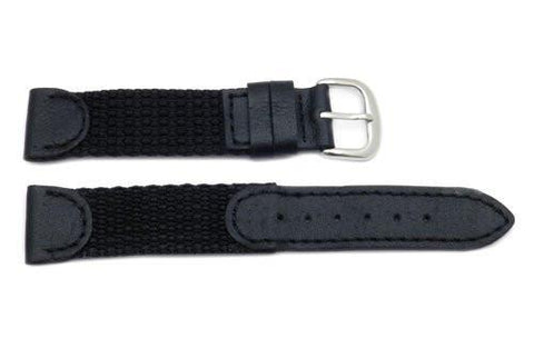 Genuine Leather and Nylon Swiss Army Style Watch Band