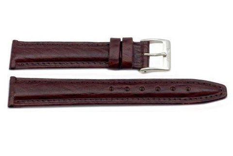 Genuine Textured Dark Brown Leather Watch Band