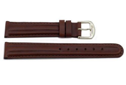 Genuine Smooth Leather Dark Brown Watch Band