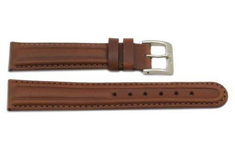 Genuine Smooth Leather Light Brown Watch Strap