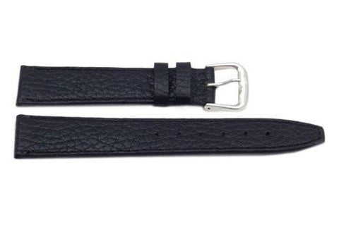 Genuine Textured Leather Black Watch Band