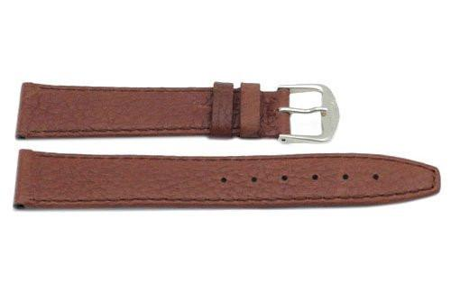 Genuine Textured Leather Tan Flat Watch Strap