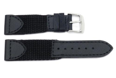 Genuine Leather and Nylon Swiss Army Style Watch Strap