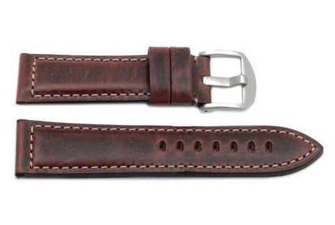 Hadley Roma Heavy Duty Oil Brown Sport Leather Watch Strap