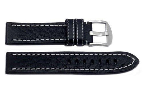 Hadley Roma Medium Padded Black Sport Leather Watch Strap