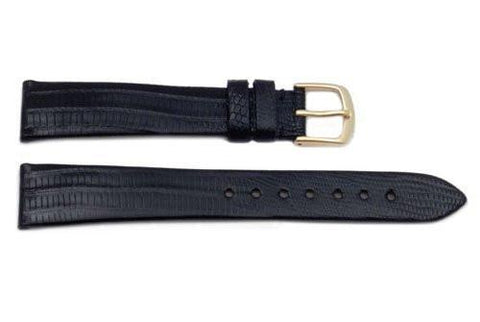 Hadley Roma Genuine Black Teju Lizard Watch Strap