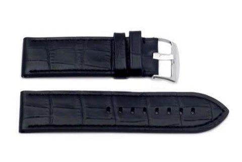 Hadley Roma Black Panerai Style Alligator Grain Leather Watch Band