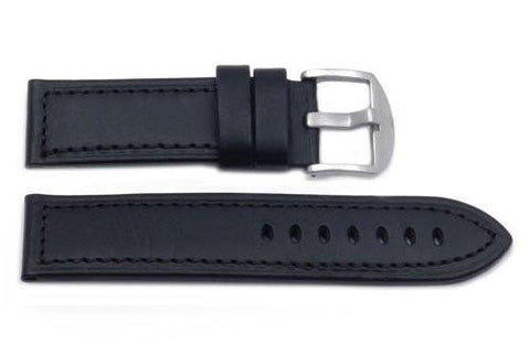 Hadley Roma Panerai Style Black Genuine Leather Wide Watch Band