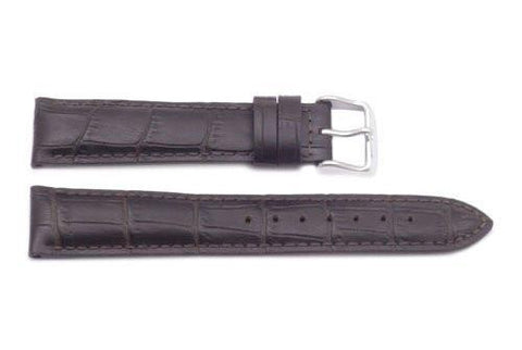 Hadley Roma Alligator Grain Brown Heavy Padded Long Watch Strap
