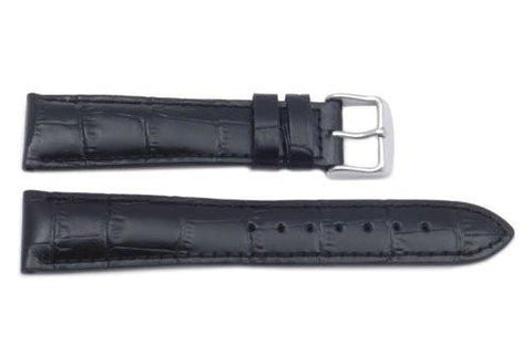 Hadley Roma Alligator Grain Black Heavy Padded Long Watch Strap