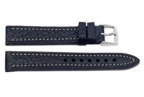 Hadley Roma Shrunken Textured Grain Black Leather Watch Band