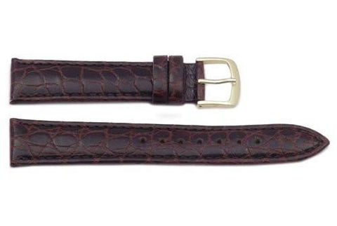 Hadley Roma Brown Crocodile Grain Light Padded Leather Short Watch Band