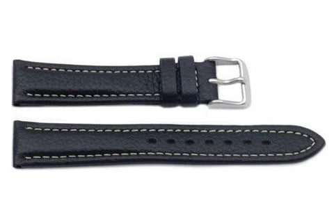 Hadley Roma Heavy Padded Breitling Style Black Leather Watch Strap