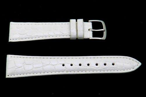 Hadley Roma Light Padded White Crocodile Grain Leather Watch Band