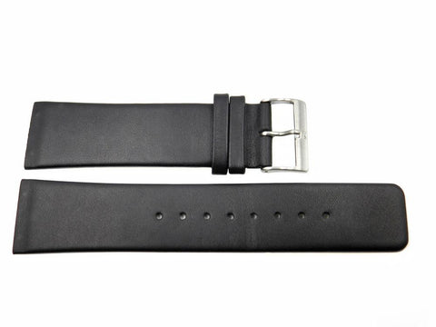 Genuine Skagen Black Leather 24mm Watch Strap - Screws